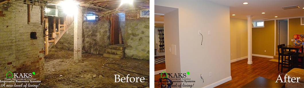 before-after Old Basement Remodel